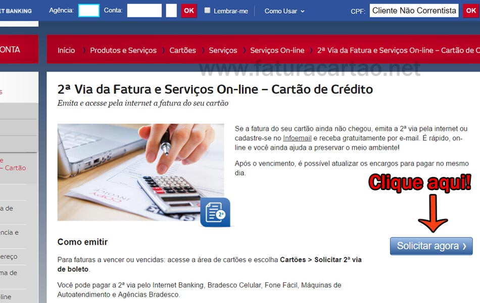 Internet Banking Bradesco fatura online