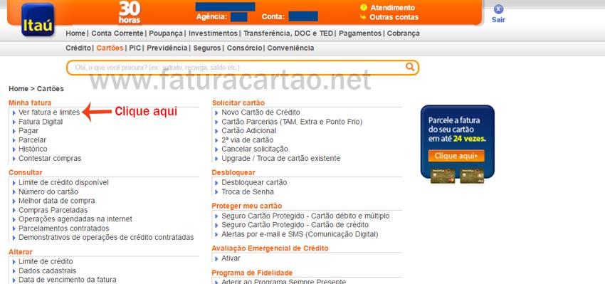 Internet Banking itaú cartões